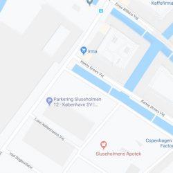 Byggefirma Køge, Sjælland, kort af sluseholmen i København